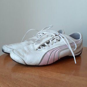 Women's Puma White and Light Pink Sneaker Size 8.5
